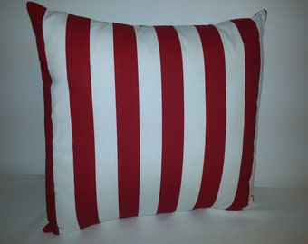 Red and white stripe pillow cover,  decorative throw pillow, Americana pillow cover, Patriotic pillow cover, accent pillow, red pillow cover