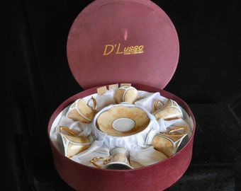 Porcelain Demitasse Boxed Set of 6 Cups & Saucers by D'Lusso Bavaria