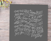 forever young grey hand lettered print (third verse) // bob dylan print // parenthood print // nursery wall art // new baby gift