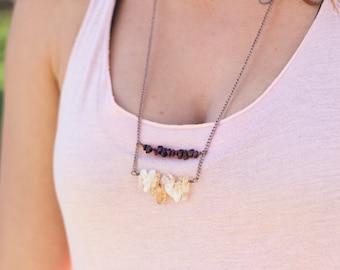 Citrine and Garnet Bar Necklace