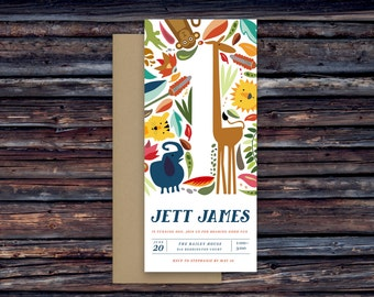 Jungle, Safari, Animals, First, Birthday Invitations, Prints or DIY