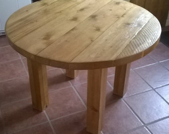 Round Rustic Plank Kitchen Dining Table 051