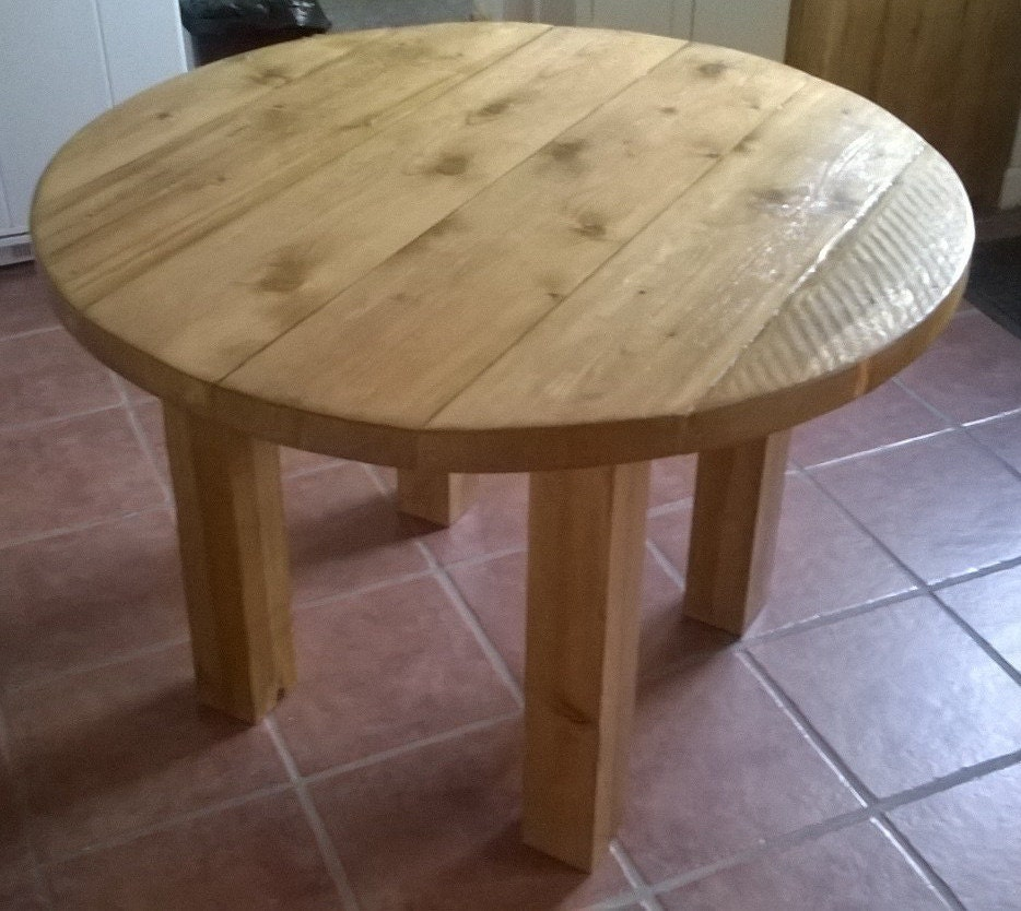 Round rustic plank kitchen dining table 051 for Rustic round kitchen table