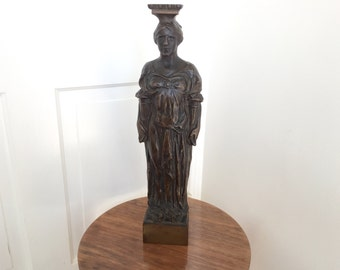 Large Vintage Cast Bronze Building Sculpture Artifact Female Figure NYC 1920s 1930s