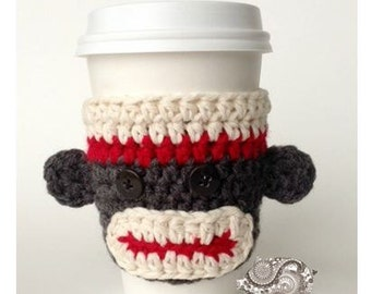 Sock Monkey Coffee Cozy - PDF CROCHET PATTERN