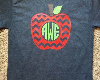 Short Sleeve Teacher Shirt with Apple Monogram