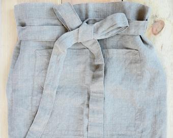 Linen apron - Natural gray linen cafe apron - Natural Baltic linen half apron