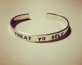 """Treat Yo Self- Hand-Stamped Aluminum Cuff Bracelet- 1/4"""" Wide"""