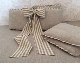 Grey crib bumper from natural linen /// Crib bedding, Nursery bedding, Cot bedding