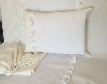 Snow white and ivory baby bedding set from natural linen /// Crib bedding, Nursery bedding, Cot bedding