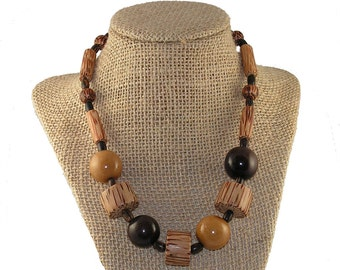 Tagua Nut and Wood Necklace