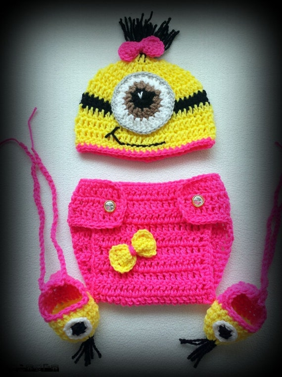 Crochet Patterns For Baby Overalls : Newborn Photo Prop Baby Hand crochet minion OUTFIT photo ...
