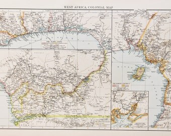 1900 Antique Times Map, West Africa Colonial Map, Colonies