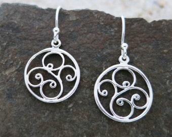 Swirl Earrings, Round Sterling Silver Earrings, Swirl Design, Everyday Earrings