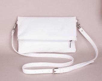 White foldover bag White foldover purse Foldover crossbody bag White folded bag  Foldover Clutch White foldover clutch Foldover clutch bag