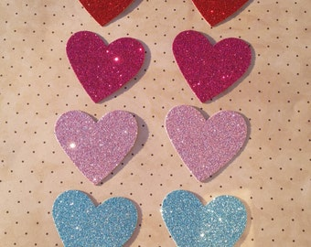 10 glitter love heart die cuts