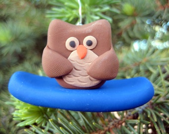 Owl Christmas Ornament - Owl Ornaments - Snowboarding Ornament