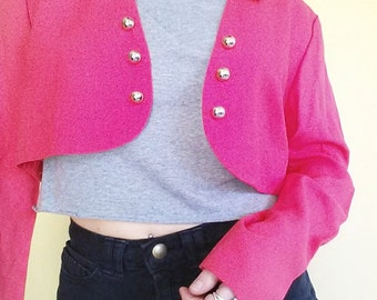 Vintage 90's Pink Cropped Jacket - X Small Small 1990's Neon Pink Crop Top - Crop Jacket