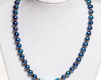 Pearl and Swarovski crystal necklace, gemstone necklace. pearl necklace, crystal necklace, one of a kind, handmade