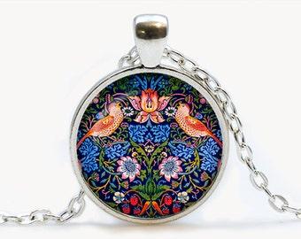 William Morris The Strawberry Thief Art pendant. The Strawberry Thief Art Necklace. Art jewelry. Birthday gift