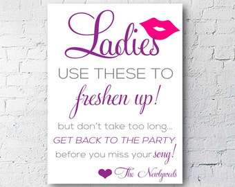Wedding Bathroom Sign | Ladies and Gentlemen Set | Freshen Up | Modern Glam | Digital Download | DIY Printable | 4X6 | Custom Color