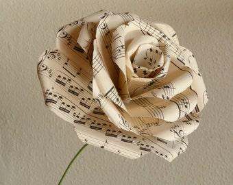 Paper Rose - Sheet Music Oversized Stem