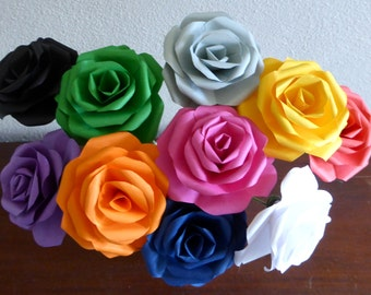 Paper Rose - long Stemmed Coloured Paper Flower