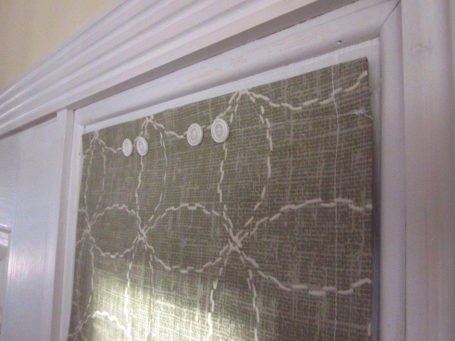 Sidelight Window Curtain Green White Circles