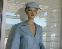Vintage 1970's Woman's Light Blue Leather Jacket, Lined and Very Well Made With A  Baby Blue Leather Hat ~ Size 8 ~ Made n New York