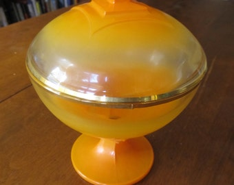 Beautiful Art Deco Orange Glass Dish with Lid