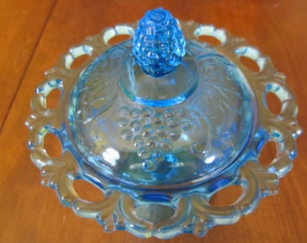 Indiana Harvest Blue Glass Dish with Lid