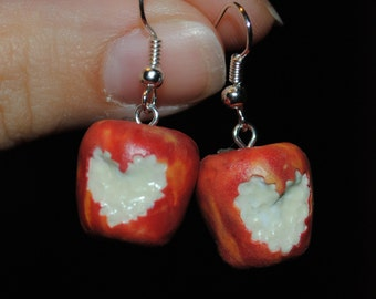 Polymer clay apple earings