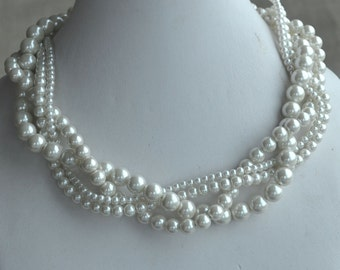 pearl necklace,four strands pearl necklace, twisted pearl necklace,bridesmaids necklace,glass pearls necklace,wedding pearl necklace
