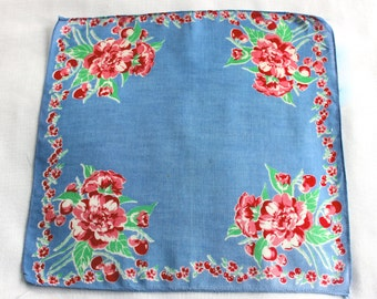 Vintage periwinkle blue handkerchief with red and green floral design