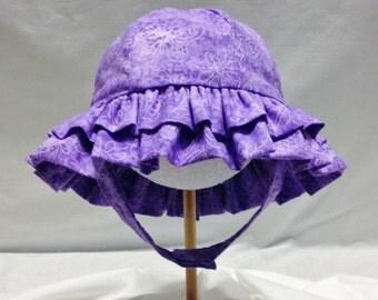 Infant Girl Purple Butterfly Ruffled Sun Hat