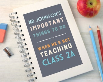 Personalised Thank You Teacher To Do Notebook (2 Colours Available)