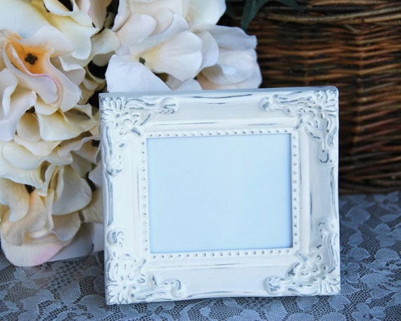 Ornate wedding decorations: Distressed shabby cottage chic white & silver hand-painted small tabletop picture frame w/ easel back