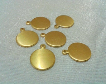 25 Pcs Raw Brass 13  mm Round Stamping Blanks Findings - ( 1 Hole -Thickness Of 1 mm ) 18 Gauge