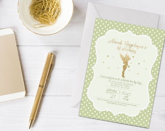 Gold Glitter Fairy Invitation | Fairy Birthday Invitation | Tinkerbell Invite | Tinkerbell Birthday Invitation | Gold