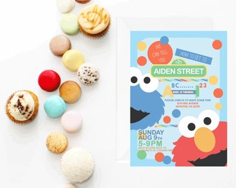 Sesame Street Invitation | Elmo Invitation | Sesame Street Invite | Cookie Monster Invitation