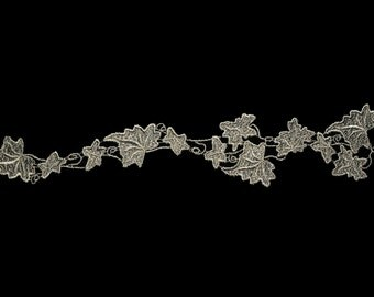 Gray Leaf Pattern Design Guipure Leaves Victorian Venice Lace Applique Motif Patch DIY Sewing Notions Supplies 31555