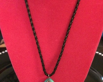 Turquoise and silver Ganesh pendant necklace