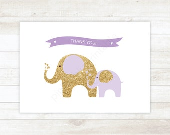purple and gold glitter printable thank you cards, baby shower purple and gold glitter elephants thank you card - personal use