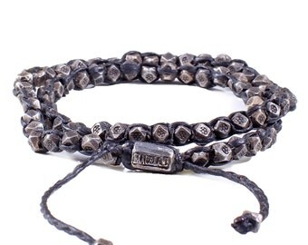 Oxidized Silver Nugget 2-Layer Wrap Bracelet