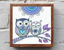 Lavender Lilac Owls Nursery Wall decor, Instant Digital Download, I love you Gift, Bohemian Wall Home Decor, Owls Poster, Baby Room Decor