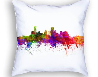 Houston Pillow, 18x18, Houston Skyline, Houston Cushion, Houston Decor, Throw Pillow, Home Decor, Gift Idea, Pillow Case 02