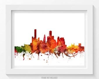 Houston Poster, Houston Skyline, Houston Cityscape, Houston Print, Houston Art, Houston Decor, Home Decor, Gift Idea 04