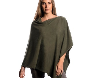 Olive Green Poncho/Olive Green 100% Cashmere Poncho