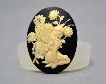 Fairy  Cameo Flexible Mold Mould For Resin Polymer Clay Chocolate Food Safe Silicone no.18