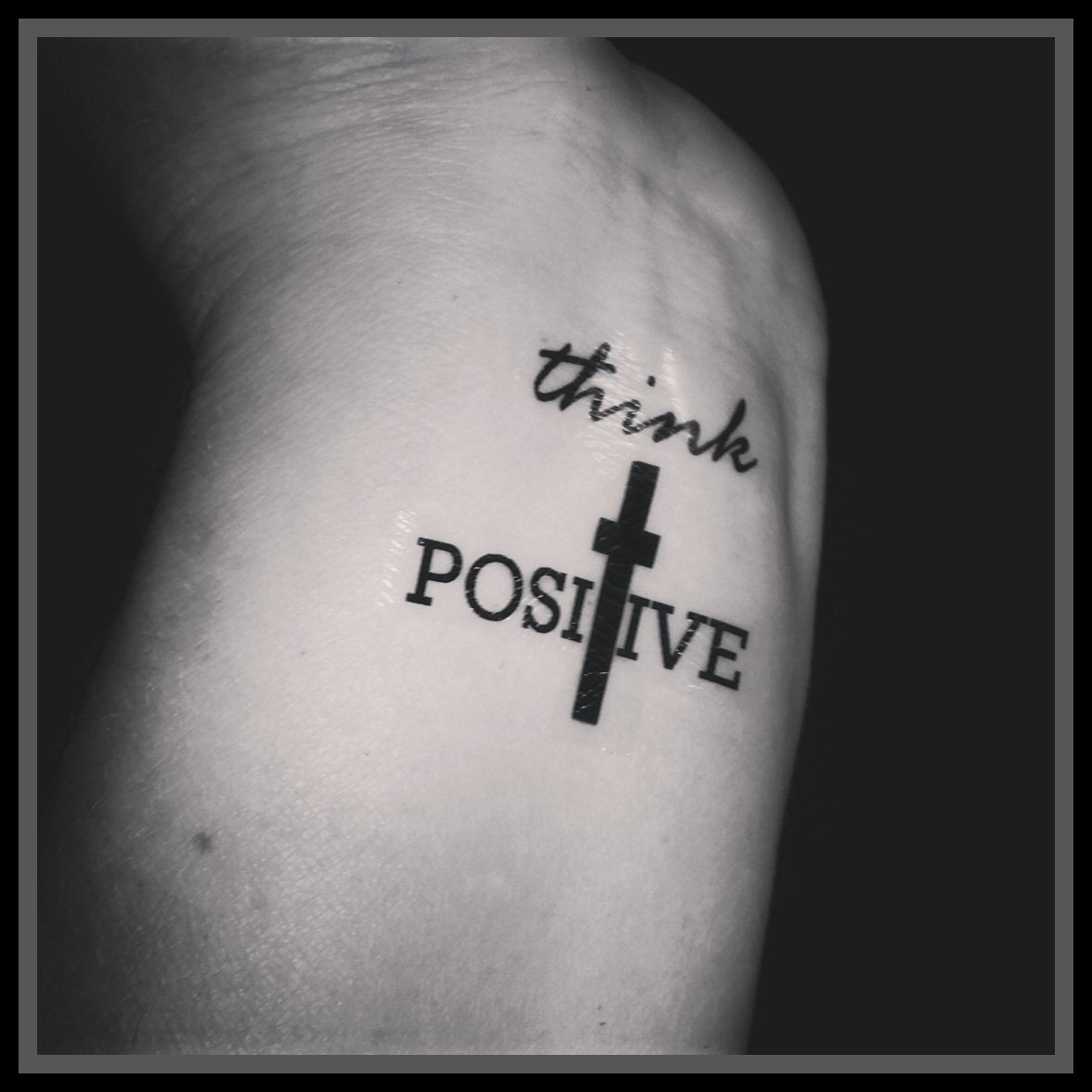 Tattoo Removal Quotes: Quote TattooTemporary Tattoos Set Of 2 Think Positive Cross